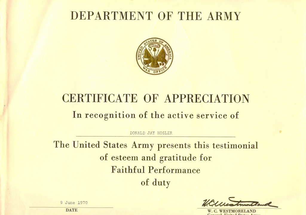 Don Hosler Certificate Of Appreciation From The Army  Army Certificate Of Appreciation